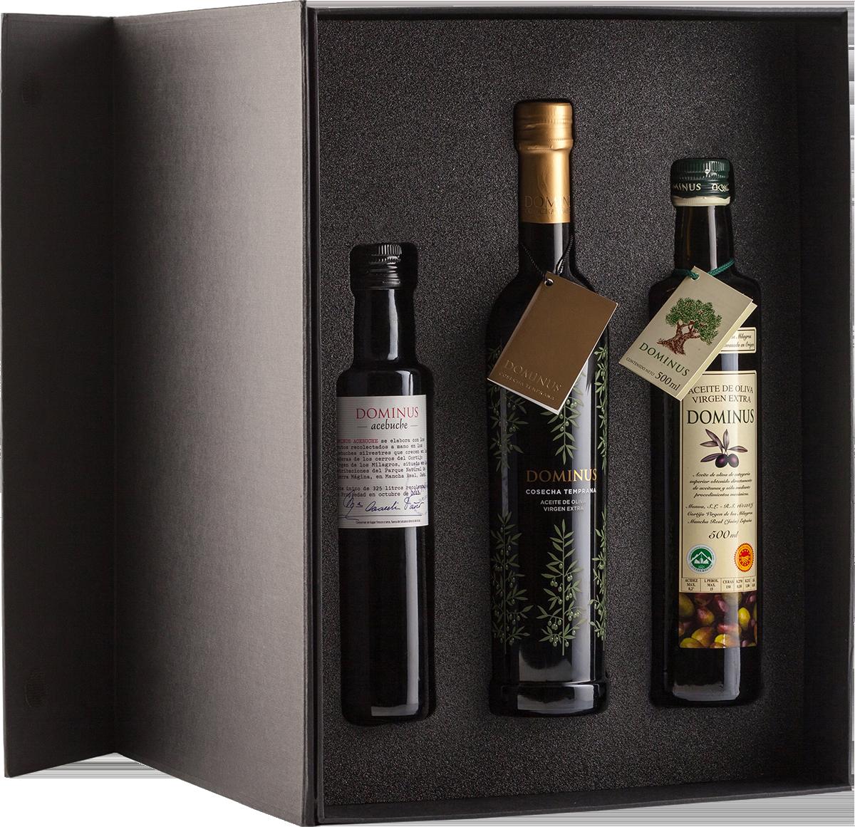 Estuche de regalo gama completa de Aceite de Oliva Virgen Extra DOMINUS