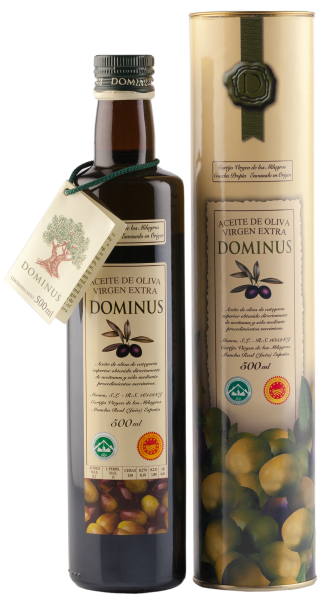 "Aceite Virgen Extra ""Dominus"" canister, 12 botellas de 500 ml. Aceite Virgen Extra ""Dominus"" canister, 12 botellas de 500 ml."