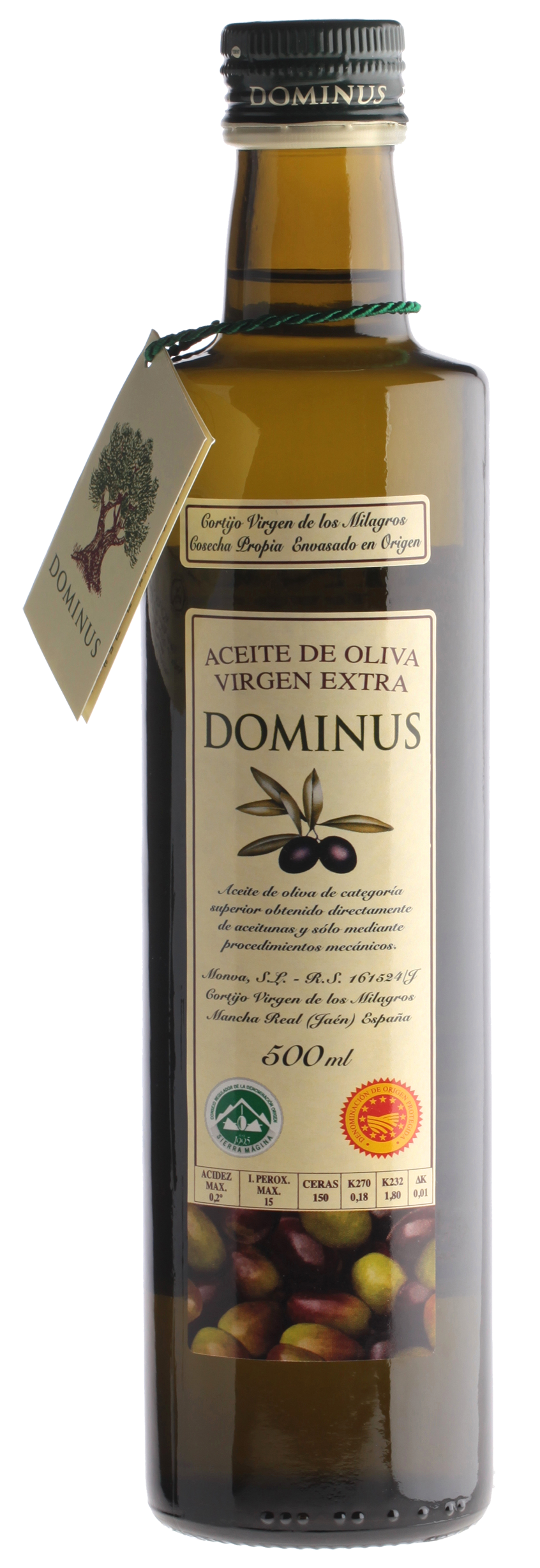 "Aceite Virgen Extra ""Dominus"", 6 botellas de 500 ml."